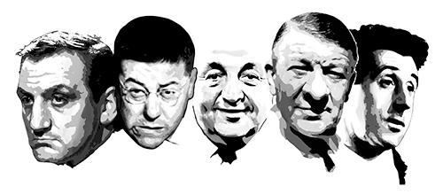 Composition avec les portraits de Lino ventura, Francis Blanche, Bernard Blier, Robert Dalban, et Jean Lefebvre